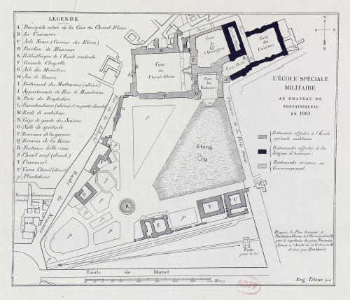 Map of the École spéciale militaire of the Château de Fontainebleau