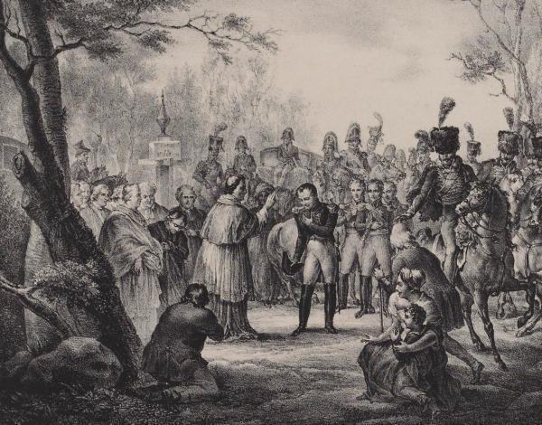 gravure représentant Pie VII et Napoléon Ier