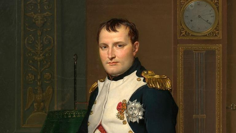 Portrait de l'Empereur Napoléon par David en pieds dans son bureau des Tuileries